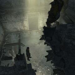 Wastelander falling through the hole