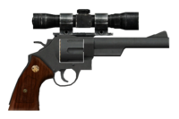 .44 magnum revolver with heavy frame and scope