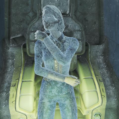 Тіло місіс Вітфілд в кріокапсулі Сховища 111