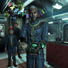 Overseeer Almodovar giving the Lone Wanderer their Pip-Boy on their 10th birthday.