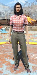 Checkered shirt and slacks