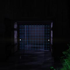 A code locked laser grid to the blast door