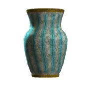 Empty teal vaulted vase