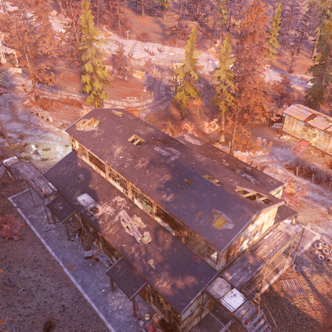 The Sons of Dane compound as seen from a nearby cliff
