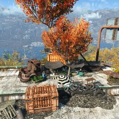 Failed settler farm and encampment on the top edge of one of the ramps