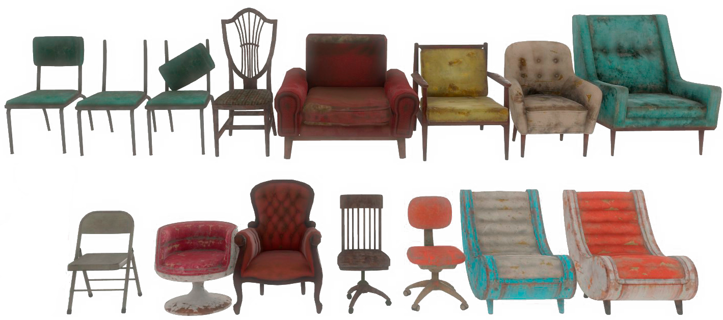 All the chairs that can be constructed in the workshop with no add ons
