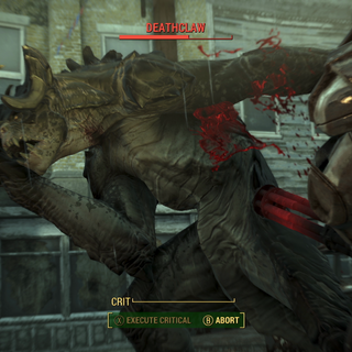A deathclaw under fire