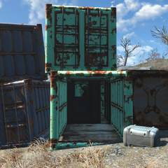 Container with full power armor