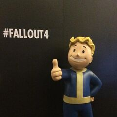 Life-size Vault Boy statue displayed by Bethesda at QuakeCon 2015