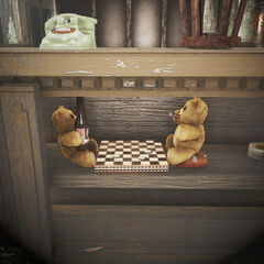 Teddy bears playing checkers