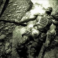Dead super mutant in an endings slide