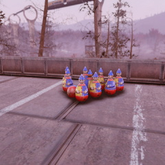 Clowns figurines on Red Rocket rooftop
