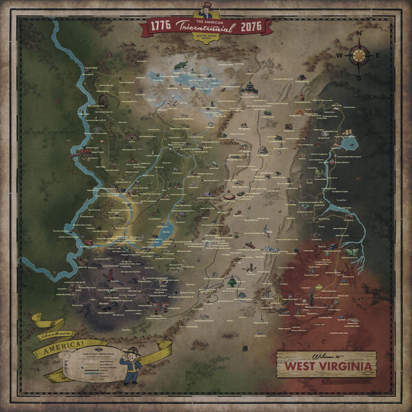 picture regarding Fallout 4 Printable Map named Fallout 76 map Fallout Wiki FANDOM run through Wikia