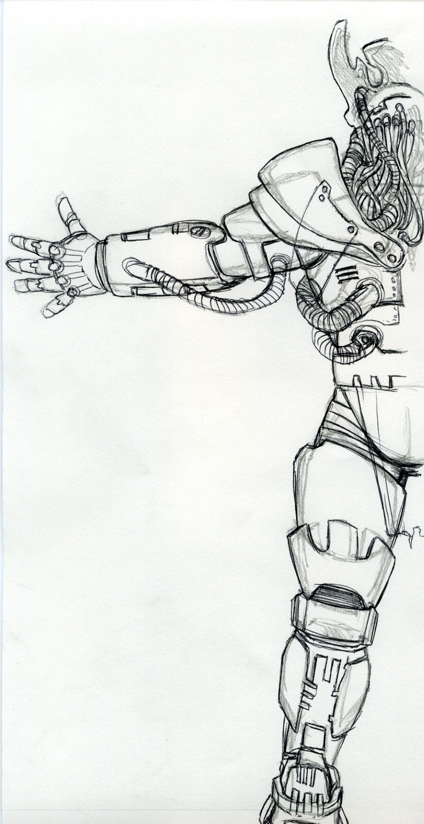 Concept sketch for back of Power Armor suit