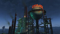 FO4 Corvega assembly plant at night