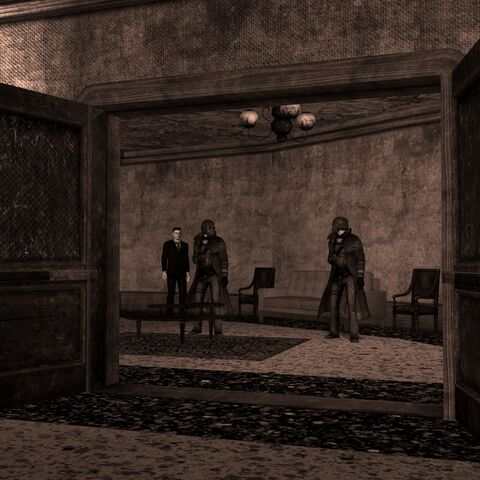 Президент Кімбол з рейнджерами-охоронцями в безпечній кімнаті дамби Гувера