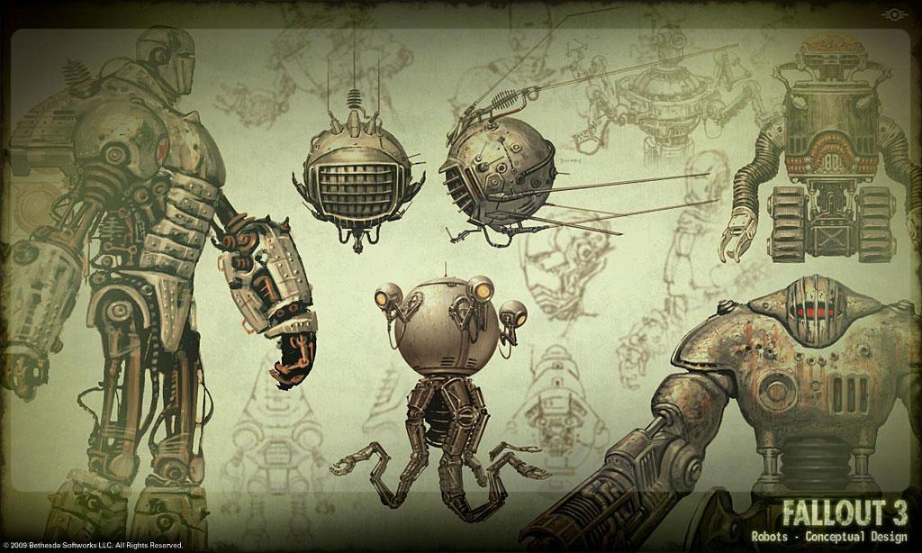 image fallout 3 robot concept art jpg fallout wiki fandom