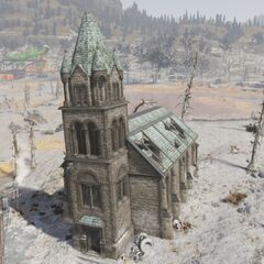 To the north of Clarksburg lies the dilapidated church
