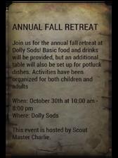 Fall retreat flyer note