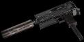 Rheinmetall 9mm machine pistol silencer and extended magazine mods hand