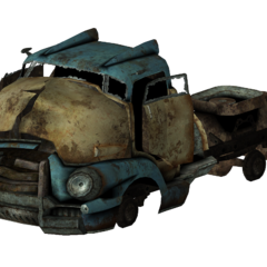 A semi-trailer truck hulk wreckage (color options available)