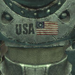 Американський прапор на броні, що знаходиться на аванпосту Ізгоїв