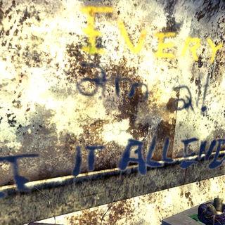 Графіті на внутрішній стіні трейлера