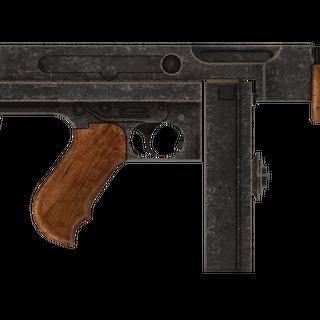 Пістолет-кулемет кал. 45 Авто з встановленими барабанним магазином.