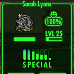 Sarah's base statistics in <i>Fallout Shelter</i>