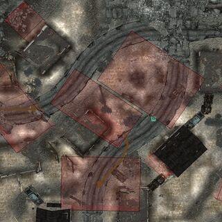 Місця обстрілу Арканзасом ділянок на Мінному полі. Обстріл відбуваються їм з свого укриття навіть у тому випадку, якщо він невраждебен. Зображення отримано через <a href=