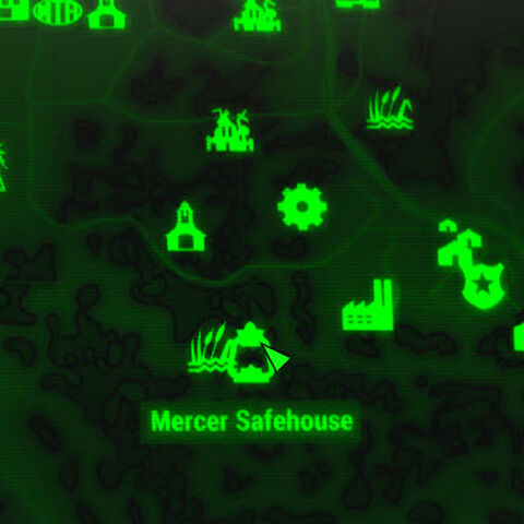 Mercer Safehouse map marker next to the <a class=