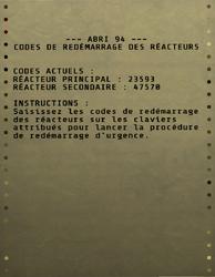 FO76 Codes de redémarrage des réacteurs de l'Abri 94