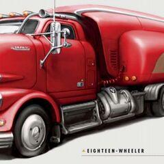 Artwork of semi-trailer truck with a semi-trailer