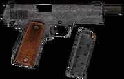 45 Auto pistol blown up