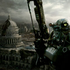 Brotherhood of Steel soldier in front of the Capitol Building in a promotional picture