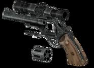 Scoped 44 Magnum revolver blown up