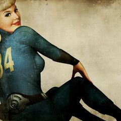 Promotional wallpaper depicting a woman in a Vault 34 Jumpsuit. This picture is in Fallout: New Vegas revealed to be of <a class=