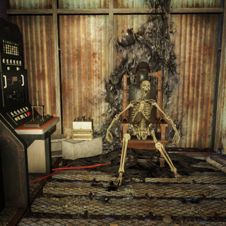 Skeleton in electric chair at police station.