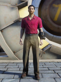 FO76 Red and khaki shirt and slacks