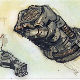 Power fist concept art by Adam Adamowicz.