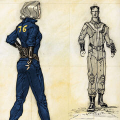 Concept art female wearing a Vault 76 jumpsuit