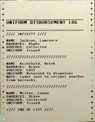 FO76 - Note - Uniform disbursement log