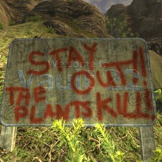 Напис Stay Out The Plants Kill!
