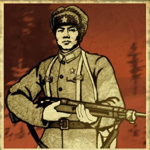 Китайський пропагандистський плакат. Підпис під плакатом: «Хай живе Народно-визвольна армія Китаю!» (中国人民解军万岁)