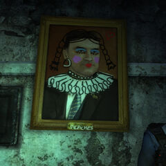 Defaced painting as it is found in game.