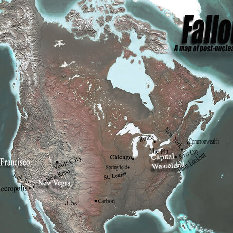 A fan-made map of the Fallout world