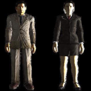 Брудний (ліворуч) і засмальцьований (праворуч) довоєнні ділові костюми в <i>Fallout 3</i>
