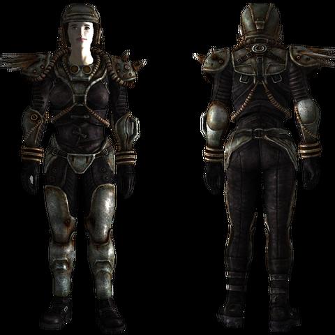 Female black metal armor in <i>Fallout 3</i>