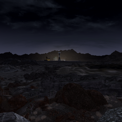 New Vegas seen from a distance at night
