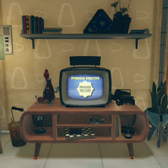 A Vault 76 colored TV